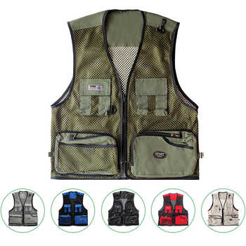 Men Summer Vest Outdoor Multi-pockets Photography Men Fishing Vest Mesh Male Vest Men Fishing Waistcoat Photography Clothing