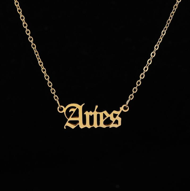2020 New Constellation Zodiac Necklaces Jewelry for Women Antique Style Designed Letter Taurus Aries Necklaces Collier(China)