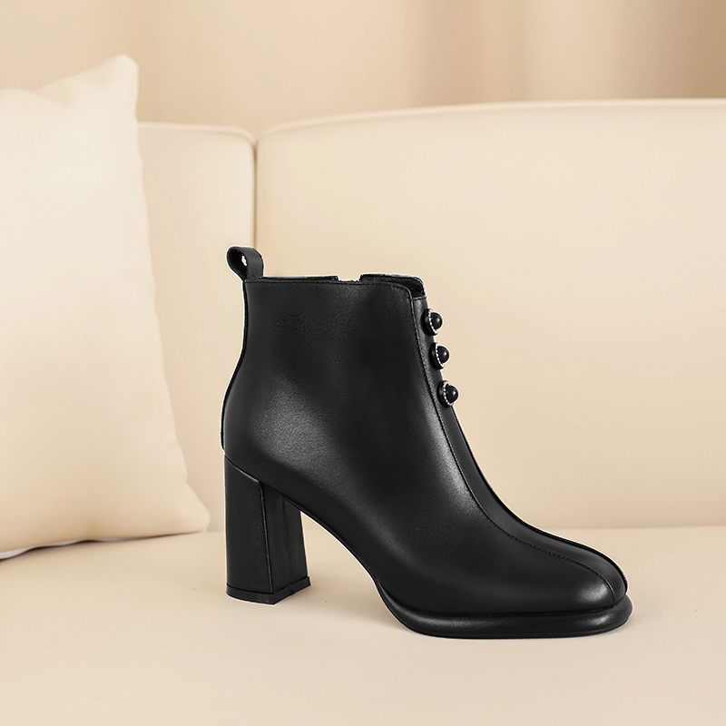Concise Genuine Leather Women Ankle Boots 2020 Autumn Winter Zipper Thick high Heels Pumps Party Basic Shoes Woman