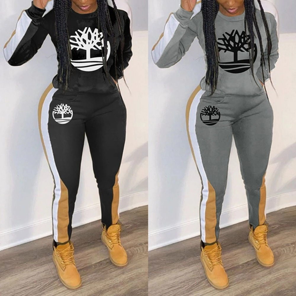 2020 European and American spring new track suit women's fashion women's multi-color printing casual sports two-piece suit (4)