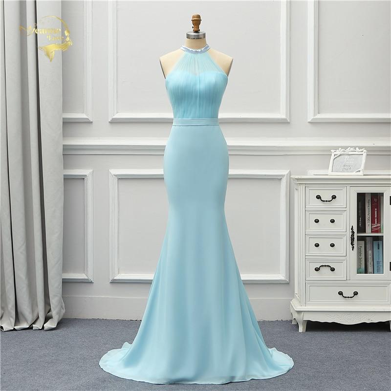 Jeanne Love Formal Luxury Long Evening Dress 2019 New Arrival Halter Blue Sky Mermaid Robe De Soiree Vestido De Festa OL5235