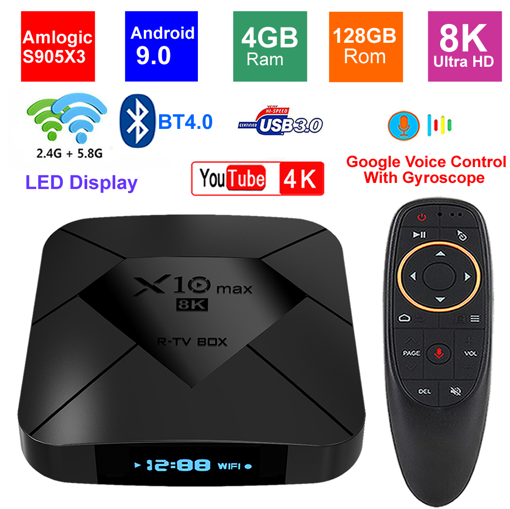 X10 MAX 8K TV BOX Android 9.0 Amlogic S905X3 4G RAM 128GB ROM 5G Dual WIFI BT4.0 USB 3.0 LED Display HDR H.265 8K Set Top Box