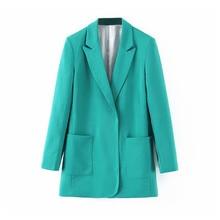 autumn elegant ladies work tops 2019 fashion turquoise suit
