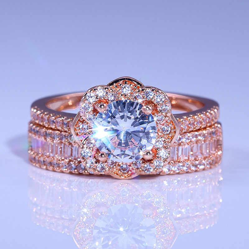 Luxo feminino 925 prata cristal zircon anel conjunto do vintage rosa ouro anéis de casamento para as mulheres flor anel de noivado nupcial