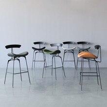 Estilo Industrial Silla de comedor pierna de hierro Silla de Bar ocio hormiga sillas Vintage Bar sillas Simple negociación cuero sillas informales