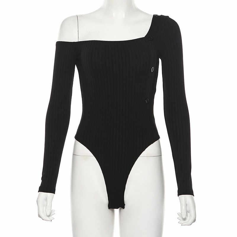 Hugcitar 2019 ארוך שרוול אחד כתף sexu bodycon בגד גוף סתיו חורף נשים שחור מוצק streetwear תלבושות גוף