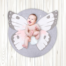 90cm Play Game Mats Baby Round Elastic Cotton Carpet Butterfly Rugs Mat Kids Crawling Blanket  Floor Carpet Room Decoration