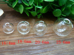 Image 3 - 200sets 14mm 18mm Empty Glass globe Ball and Glass Orb caps Charms pendants glass vials Wish Bottles glass balls orbs
