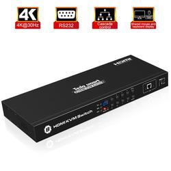 Tesla smart KVM USB HDMI Switch 8 Port KVM HDMI Switcher KVM Switch HDMI Ondersteuning 3840*2160/4 K 2 Stuks Rack Oren Standaard 1U