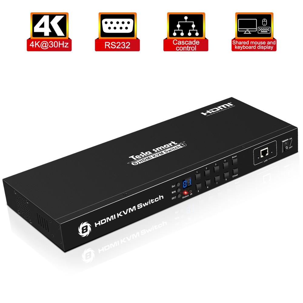 Tesla Smart KVM USB HDMI Switch 8 Port KVM HDMI Switcher KVM Switch HDMI Support 3840*2160/4K 2 Pcs Rack Ears Standard 1U