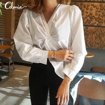 Celmia moda Sexy blusa de cuello en V mujeres camisas 2020 otoño manga larga Casual sólido suelta Oficina Tops túnica anudada Blusas