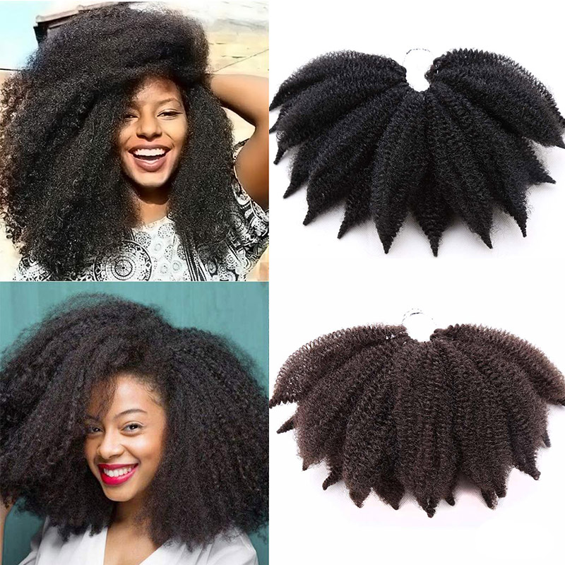 Short Soft Afro Kinky Marley Braids Hair 8inch Fluffy Curl Twist Crochet Braid Hair Yaki Curl Crochet Synthetic Braiding Hair