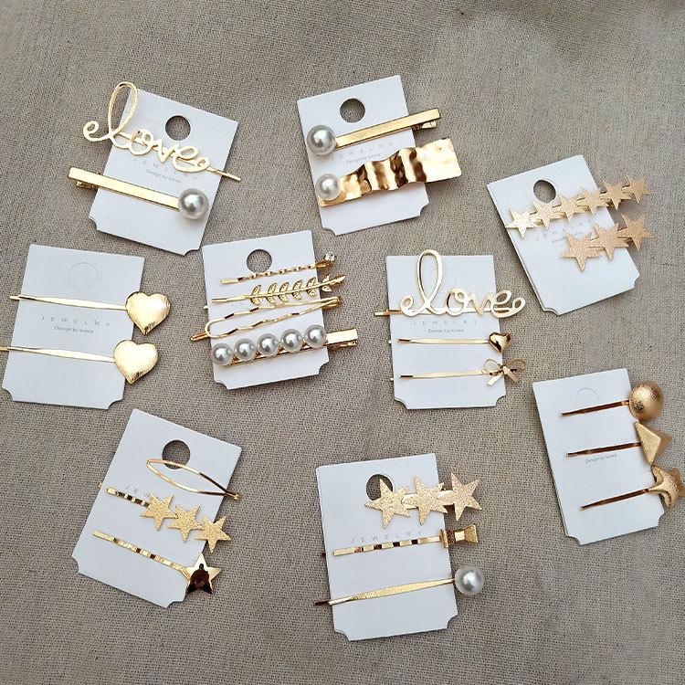 1 SET Korea Geometric Irregular Metal Hairpins Imitiation Pearl Star Leaf Shape Hair Clips Hair Accessories For Women Girls Drop