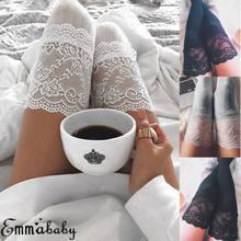 Meias femininas quente coxa alta sobre o joelho meias de algodão longo rendas meias medias inverno sexy meias