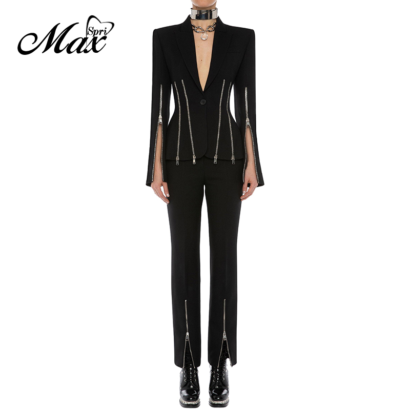 Max Spri 2019 New Fashion Punk Style Two Piece Set Women V neck Long Split Sleeves Zipper Decoration Blazer Straight Pants Suits