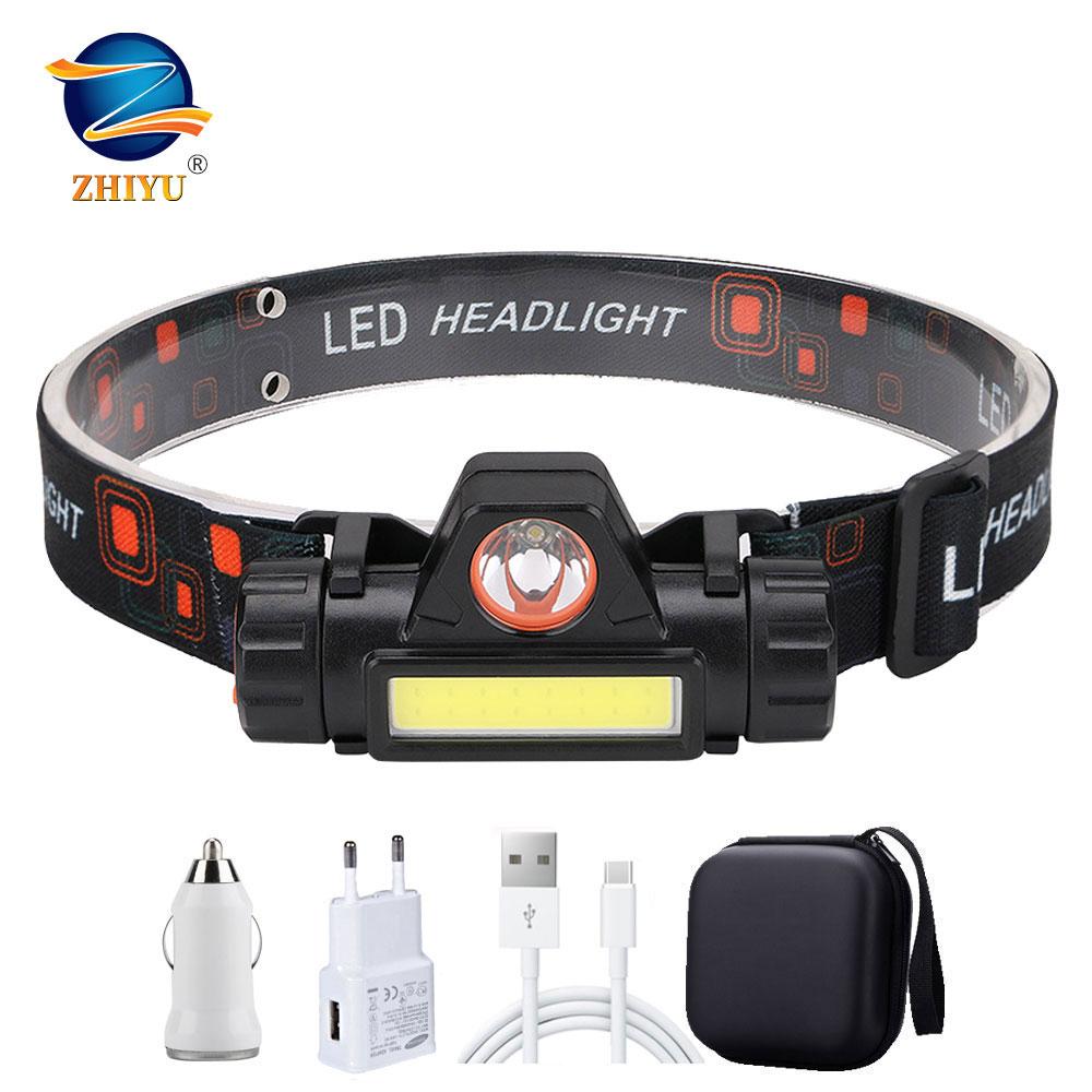 ZHIYU Portable Mini Flashlight Q5 COB Led Headlamp High Power Built-in 18650 Battery Outdoor Camping Headlight Stepless Dimming