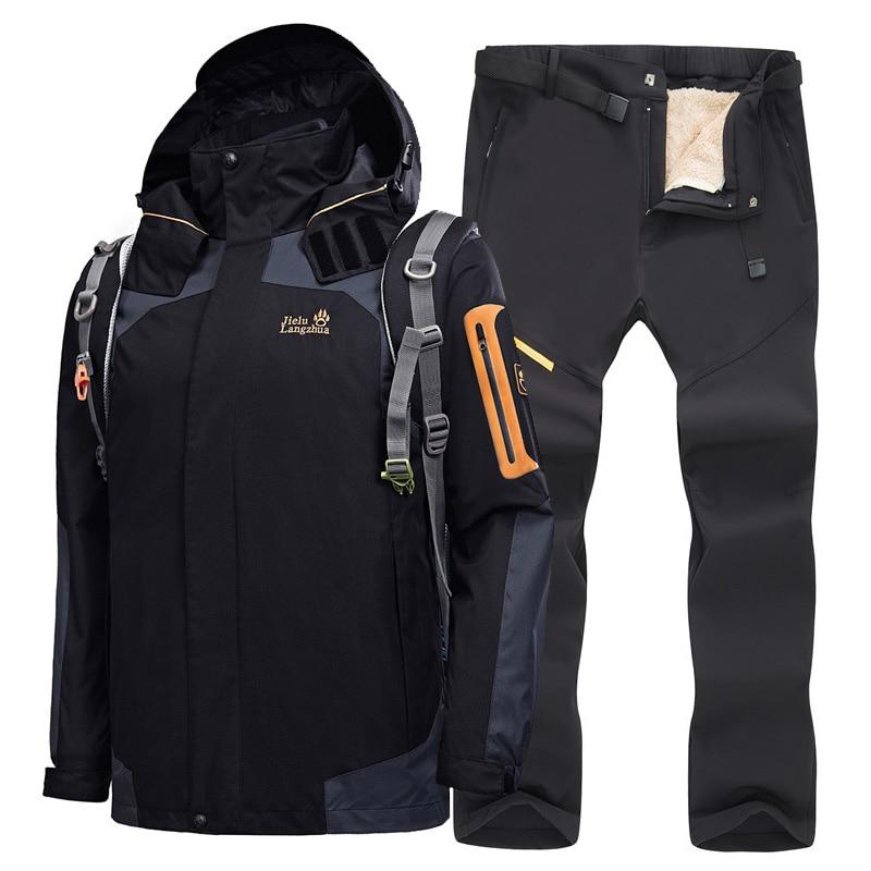 Men's Ski Suit Winter Warm Windproof Waterproof Outdoor Sports Snow Jacket And Pants Hot Ski Equipment Snowboard Jacket Sets Men