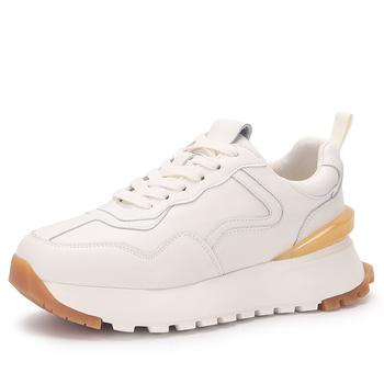 Trampki kobiety platformy mieszkania Femme Luxe prawdziwej skóry panie przypadkowi buty sportowe biały czarny na wiosnę jesień 2021 tanie i dobre opinie WOOS BOBO GENUINE LEATHER Skóra bydlęca CN (pochodzenie) Med (3 cm-5 cm) inny Łączenie Stałe Adult SYNTETYCZNE latex