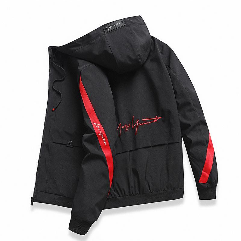 Мужская ветровка, Повседневная легкая куртка с капюшоном и молнией контрастного цвета, весна осень 2020, недорогая верхняя одежда|Куртки| | АлиЭкспресс