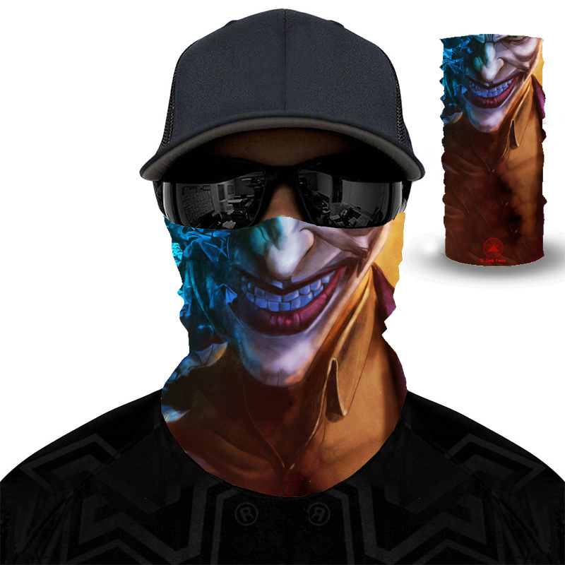 2020 New 3D Joker Windproof Seamless Magic Headscarf Skull Neck Bike Hat Headscarf Hiking And Cycling Headscarf