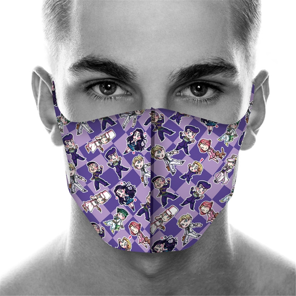Full Printed JoJo's Bizarre Adventure Mouth Mask Breathable Unisex Sponge Reusable Anti Pollution Wind Proof Mouth Cover