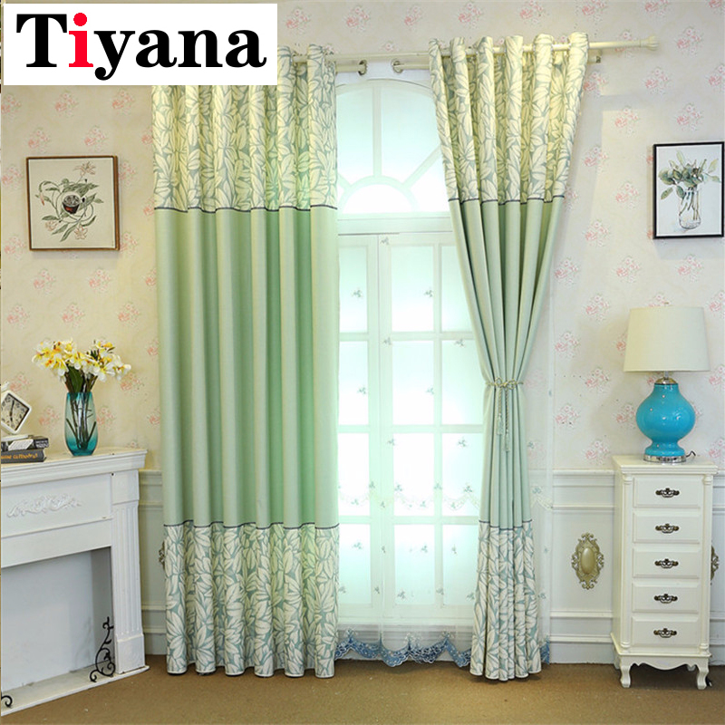 Rustic Green Leaves Curtains For Living Room Purple Blackout