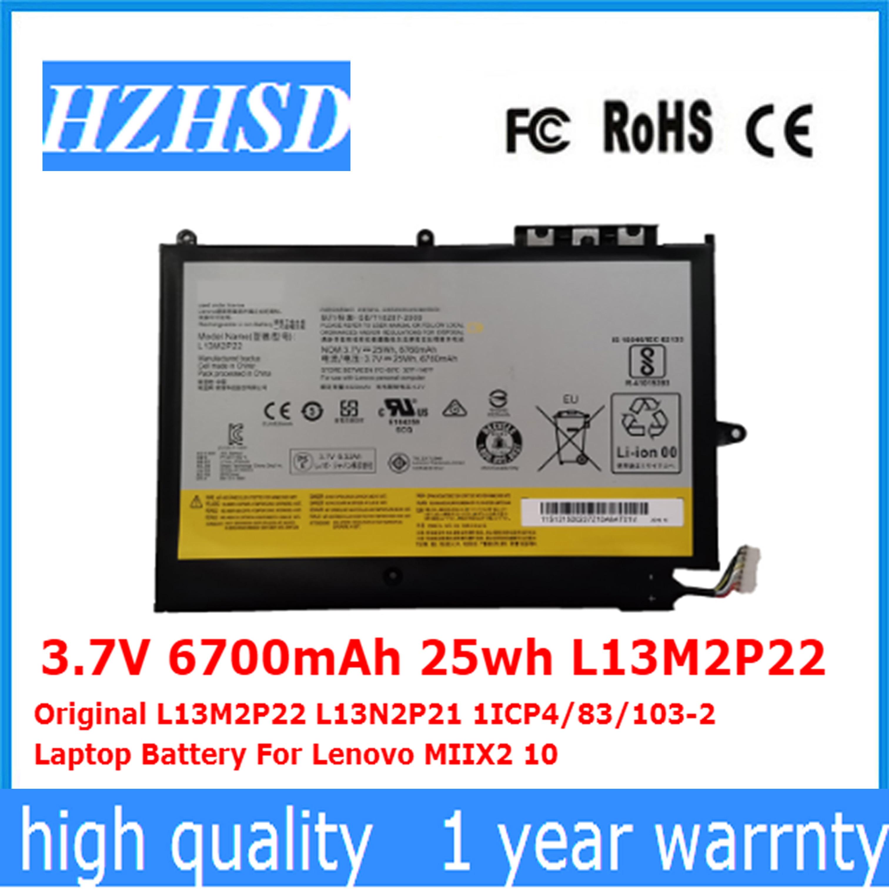 3.7V 6700mAh 25wh L13M2P22 Original L13M2P22 L13N2P21 1ICP4/83/103-2 Laptop Battery For Lenovo MIIX2 10