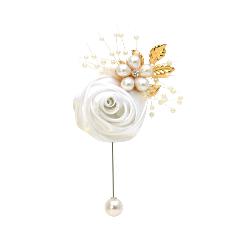 Wedding Prom Pearl Rose Corsage Ceremony Brooch Flowers Wedding Boutonnieres Groom Groomsmen Buttonhole Silk Ribbon Boutonniere