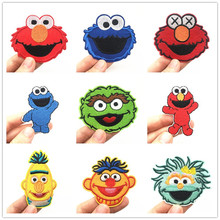 Anime Patches Clothes Stickers Iron-On Sesame Street Cartoon T-Shirt Appliques Cute