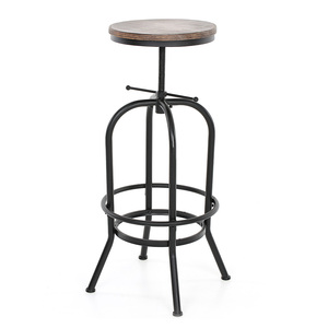 iKayaa Industrial Style Bar Stools Chair Home Kitchen Dining Chairs Pinewood Metal Footrest Counter Pub Stool Padded Seat