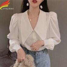 Long Puff Sleeve Sweet Blouse Women 2019 Spring New Arrivals Gray White Turn-down Collar Satin Women
