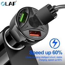 Quick Charge 3.0 Car Charger Portable 5V 3A Fast Charging GPS 3 Port USB Car-Charger For iPhone Samsung iPad USB Charger adapter недорого