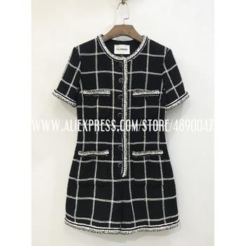 Retro round neck tweed jumpsuit ladies black short sleeve button jumpsuit women's jumpsuit 2020 casual jumpsuit Lined with silk фото
