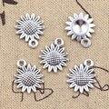 20 штук Подвески с изображением подсолнуха цветов, 18x15 мм антикварные подвески из серебра ювелирных изделий DIY ручной Тибетский поиск ювелир...