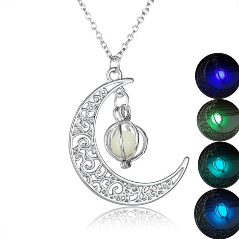 Srebrny Hollow kamień świecący naszyjnik kobiety mężczyźni wisiorek z księżycem biżuteria moda naszyjnik łańcuch Choker Lady świecące w ciemności Choker