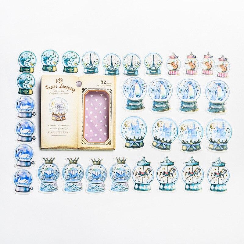32 Pcs/Bag Dream Magic Crystal Ball Decorative Paper Sticker Adhesive Stick Label