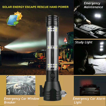 USB Solar LED Flashlight Emergency Light Safety Hammer Recharging Power Bank Outdoors Compass  Survival Tool For Travel Camping 4
