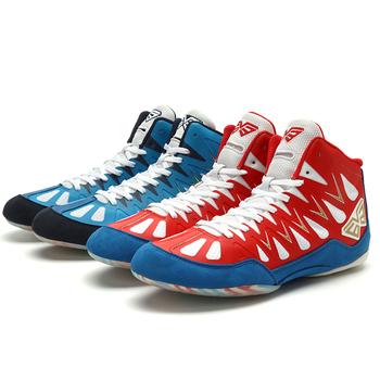 Męskie buty bokserskie lekki mężczyzna na świeżym powietrzu Sport zapasy walki trampki czerwony niebieski mężczyzna podnoszenie ciężarów buty trener tanie i dobre opinie WOWOZZ Masaż Spring2019 Pasuje prawda na wymiar weź swój normalny rozmiar Suede Profesjonalne Syntetyczny Średnie (b m)