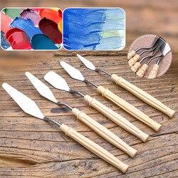 5 sztuk/zestaw Mix paleta malarska oleju nóż skrobak ze stali nierdzewnej łopatka dostaw sztuki dla artysty płótnie farby olejne mieszanie kolorów Pędzle    -