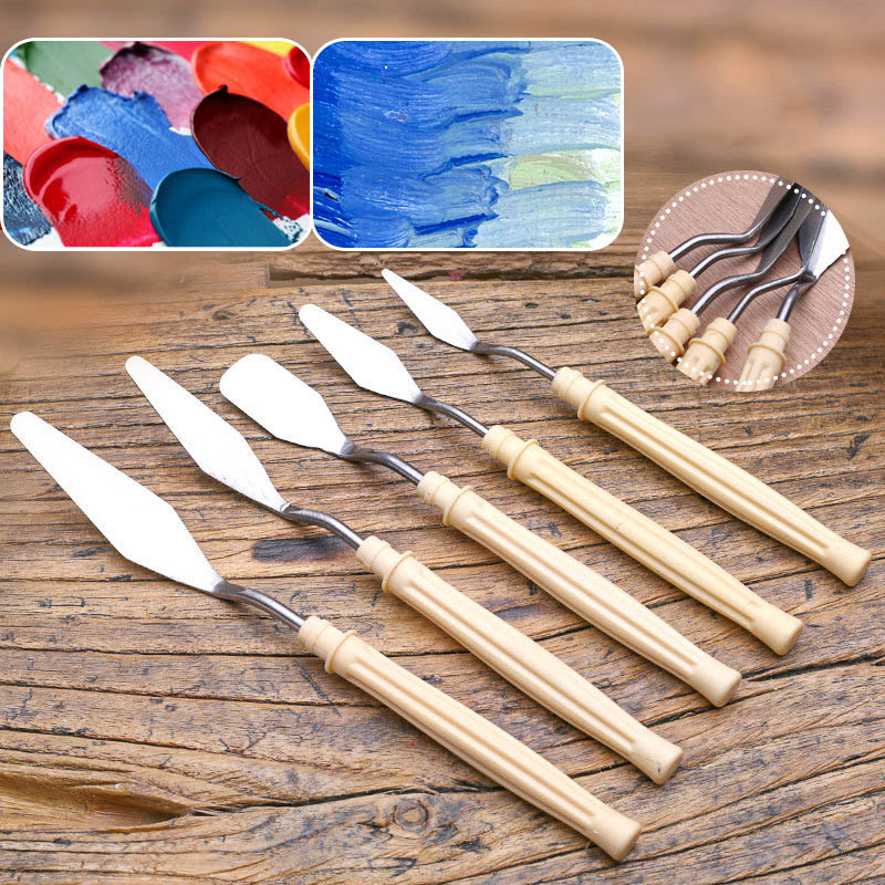 5Pcs/set Mix Oil Painting Palette Knife Stainless Steel Scraper Spatula Art Supplies For Artist Canvas Oil Paint Color Mixing