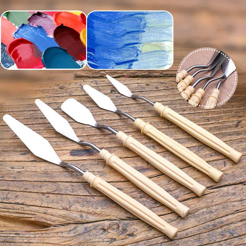 5Pcs/set Mix Oil Painting Palette Knife Stainless Steel Scraper Spatula Art Supplies For Artist Canvas Oil Paint Color Mixing