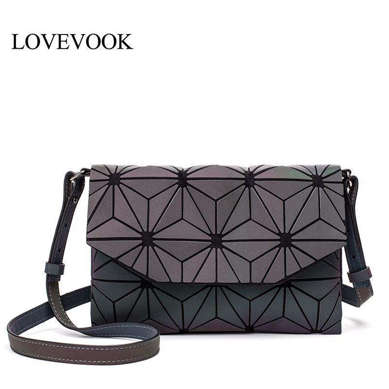 LOVEVOOK Crossbody Bags For Women 2019 Fashion Shoulder Messenger Bags Female Envelope Bag PU Geometric Bags Luminous Color