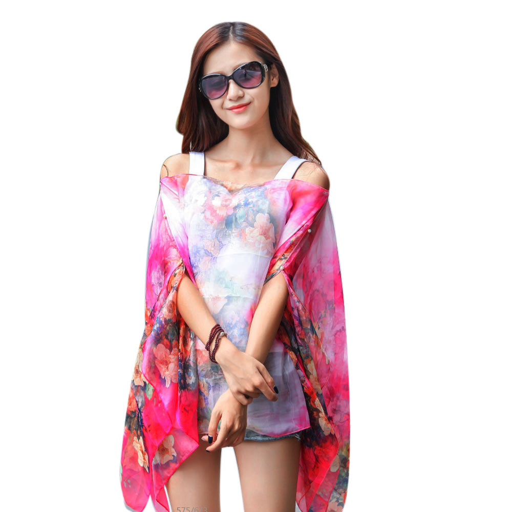 Spring Scarves For Women High Quality Stole Silk Scarf Chiffon Sunscreen Scarf Brand Big Size Printed Poncho Neckerchief