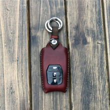 key case for car new Hand sewing Hollow out leather car key case For Toyota Camry Coralla Crown RAV4 Highlander 2015 3 Buttons
