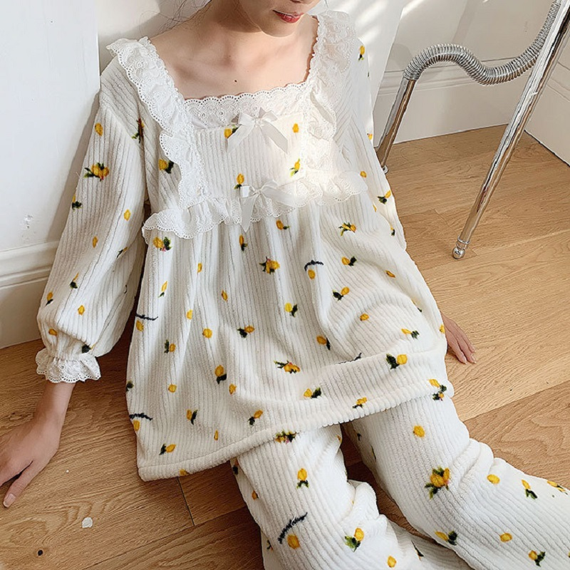 Autumn Winter Sweet Soft Thick Flannel Women's Pajamas Sets Female Fruits Print Long Sleeve Sleepwear Suits Present Gift