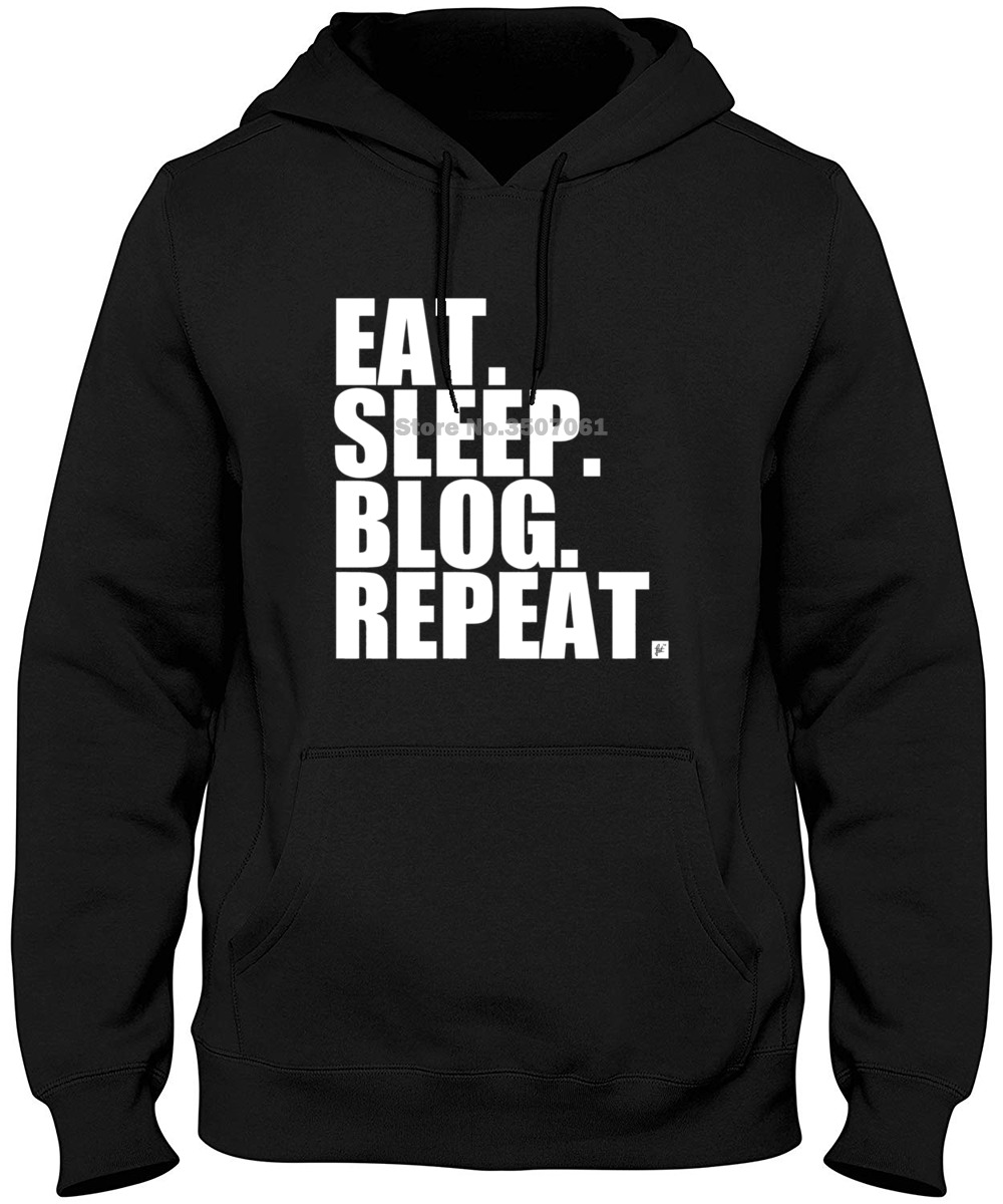 Eat. Sleep. Blog. Repeat. Social Blogger Womens Ladies Letter Print Harajuku Punk Hoodies & Sweatshirts image