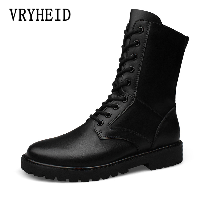 VRYHEID Lovers Popular Motocycle Boots Men Winter Combat Boots Non-slip Men's Genuine Leather Military Boot Army Plus Size 35-52