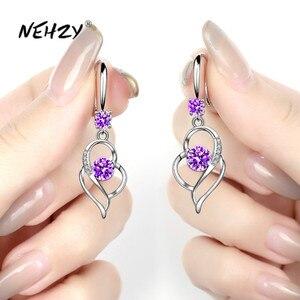 NEHZY 925 sterling silver new women's fashion jewelry earrings blue crystal zircon heart-shaped hollow long tassel hook earrings