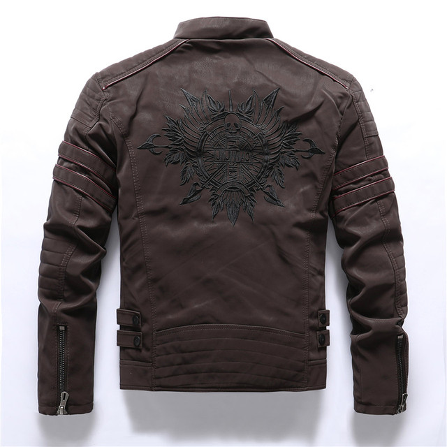 SKULL EMBROIDERY PU LEATHER JACKET (6 VARIAN)