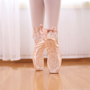 Image 3 - Professional Ballet Pointe Shoes Canvas Satin Pink Black Red Ballerina  For Dancing Performance With Toe Pad